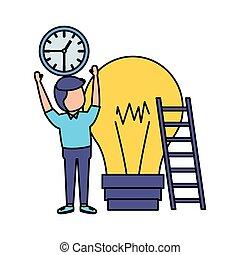 homme affaires, escalier, ampoule, horloge