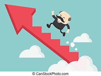 homme affaires, escalier, reussite, patron, escalade, flèche