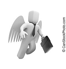 homme affaires, est, voler, sur, ailes, de, ange