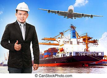 homme affaires, et, comercial, bateau, à, récipient, sur, port, fret, c