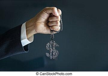 homme affaires, et, diamon, signe, dollar, dans, main, forword, à, cible, reussite, concept affaires