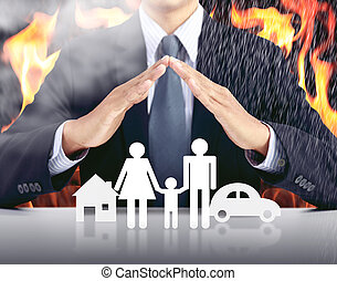 homme affaires, et, famille, à, brûler, fond, assurance, concept