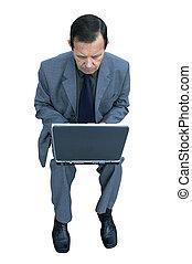 homme affaires, et, ordinateur portable, isolé