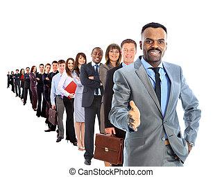 homme affaires, et, sien, équipe, isolé, sur, a, fond blanc