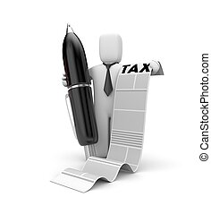 homme affaires, et, taxation, list., 3d, illustration