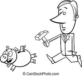 Monnaie tirelire banque pi ce monnaie porcin illustration - Tirelire dessin ...