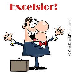 homme affaires, excelsior, heureux, sous