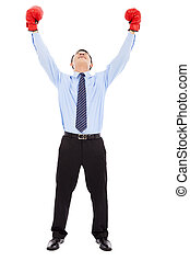 homme affaires, excité, gants, bras, augmentations