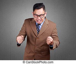 homme affaires, fâché, expression, fou, jeune