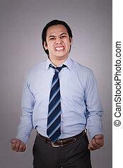homme affaires, fâché, expression, jeune, asiatique
