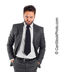 homme affaires, fâché, expression, jeune