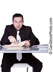 homme affaires, fâché, sien, fonctionnement, bureau