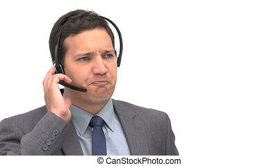 homme affaires, fâché, téléphone