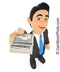 homme affaires, factures, dollar, 3d