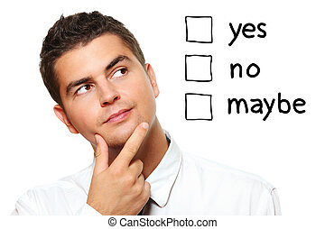 homme affaires, faire, essayer, jeune, décision
