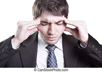 homme affaires, fatigué, avoir, mal tête