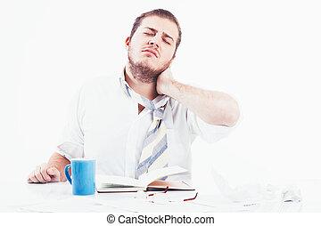 homme affaires, fatigué