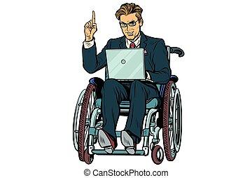 homme affaires, fauteuil roulant, blanc, isolé, fond