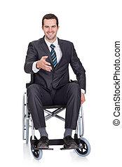 homme affaires, fauteuil roulant, jeune