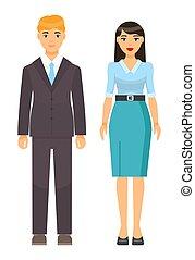 homme affaires, femme affaires, collection, icônes, ouvriers, dessin animé, porter, bureau, ensemble, tissu