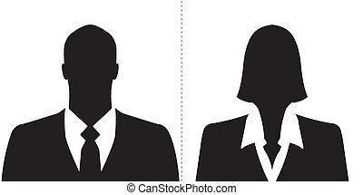 homme affaires, femme affaires, icônes