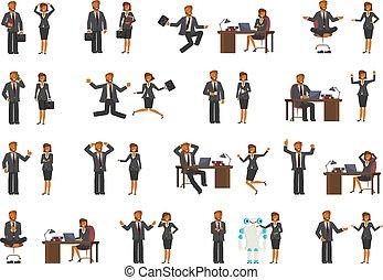 homme affaires, femme, caractères, business, intelligent