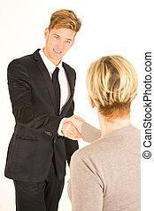 homme affaires, femme, serrer main