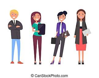homme affaires, femmes, isolé, tablette, numérique
