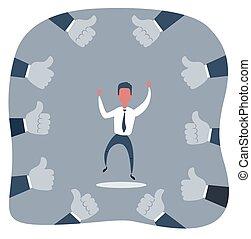 homme affaires, fier, heureux, him., haut, pouces, mains, autour de, beaucoup, vecteur, illustration