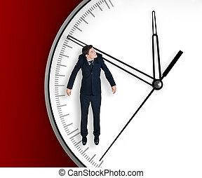 homme affaires, flèche, pend, horloge
