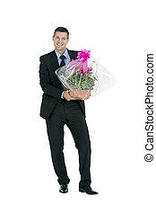 homme affaires, fleurs, vase