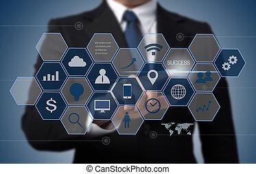 homme affaires, fonctionnement, à, moderne, informatique, interface, comme, informatique, concept