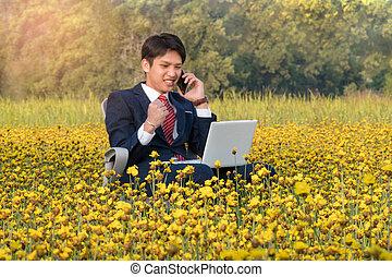 homme affaires, fonctionnement, asiatique