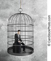 homme affaires, fonctionnement, cage d'oiseaux