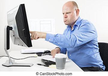 homme affaires, fonctionnement dur, bureau