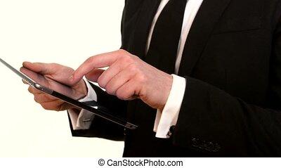 homme affaires, fonctionnement, pc, blanc, tablette