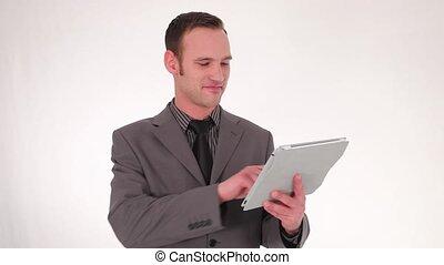 homme affaires, fonctionnement, tablette