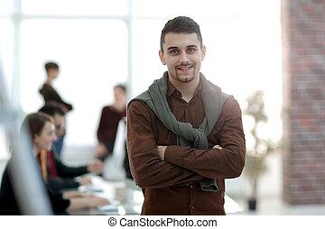 homme affaires, fond, bureau, créatif