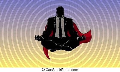 homme affaires, fond, silhouette, méditer, super