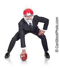 homme affaires, football américain, jouer, compétitif