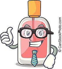 homme affaires, forme, parfum, botlle, dessin animé