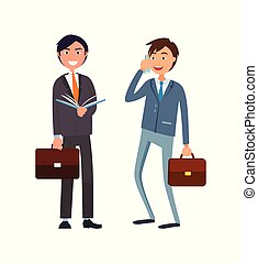 homme affaires, formel, téléphone, parler, usure