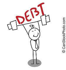 homme affaires, fort, dette