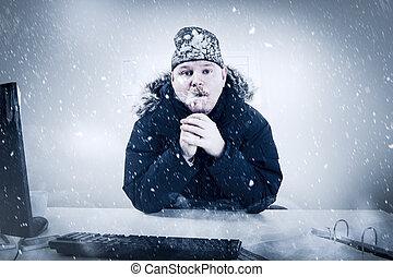 homme affaires, froid, neige, bureau, glace