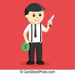 homme affaires, fusil, tenant argent