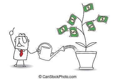 homme affaires, gagner, argent