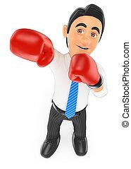 homme affaires, gants boxe, 3d