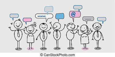 homme affaires, gens, réseau, social