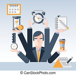 homme affaires, gestion, temps