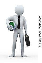 homme affaires, globe, tenue, 3d
